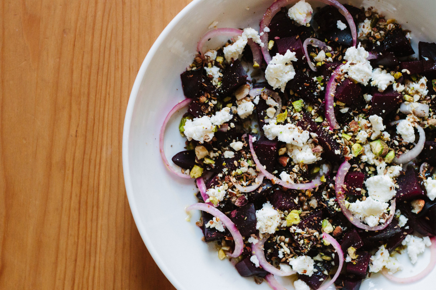 beet salad with goat cheese and dukkah