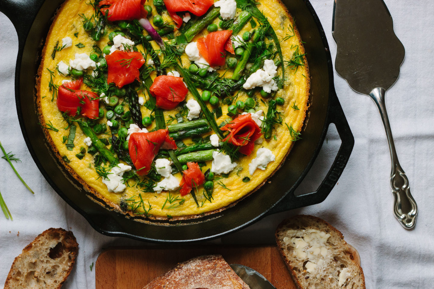 spring frittata with asparagus, goat cheese and smoked salmon