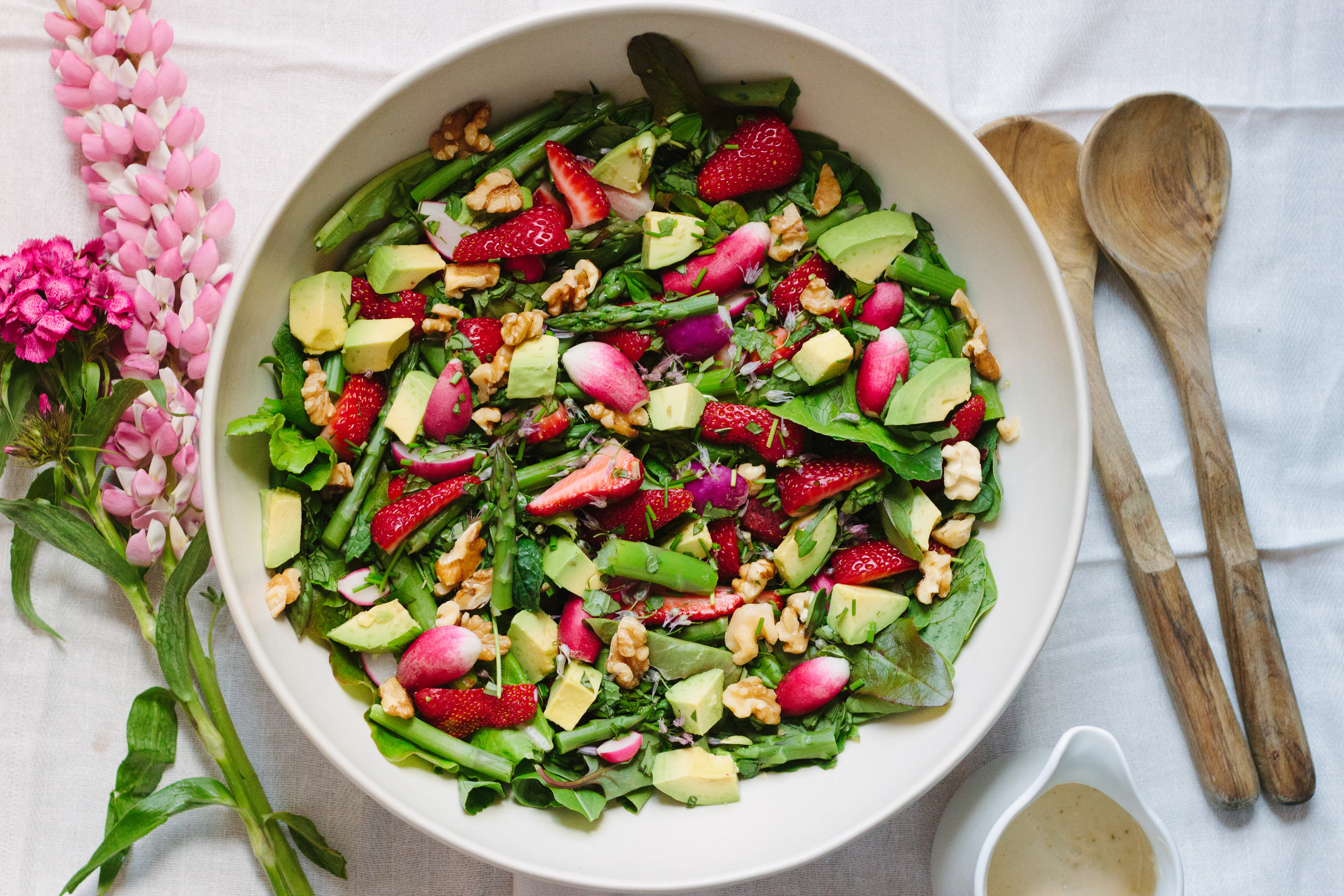 strawberry, asparagus, radish & greens salad with creamy green garlic dressing