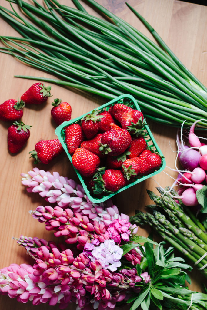 strawberry, asparagus, radish & greens salad with creamy green garlic dressing